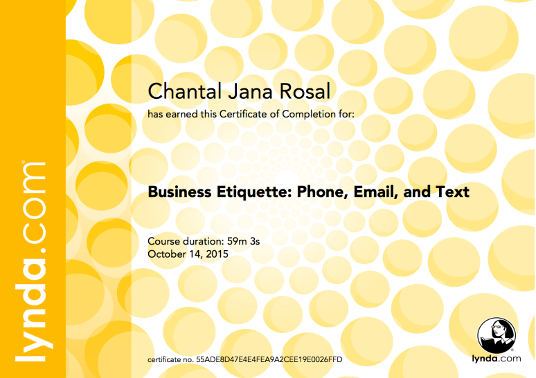 certificate phone, email, and text etiquette