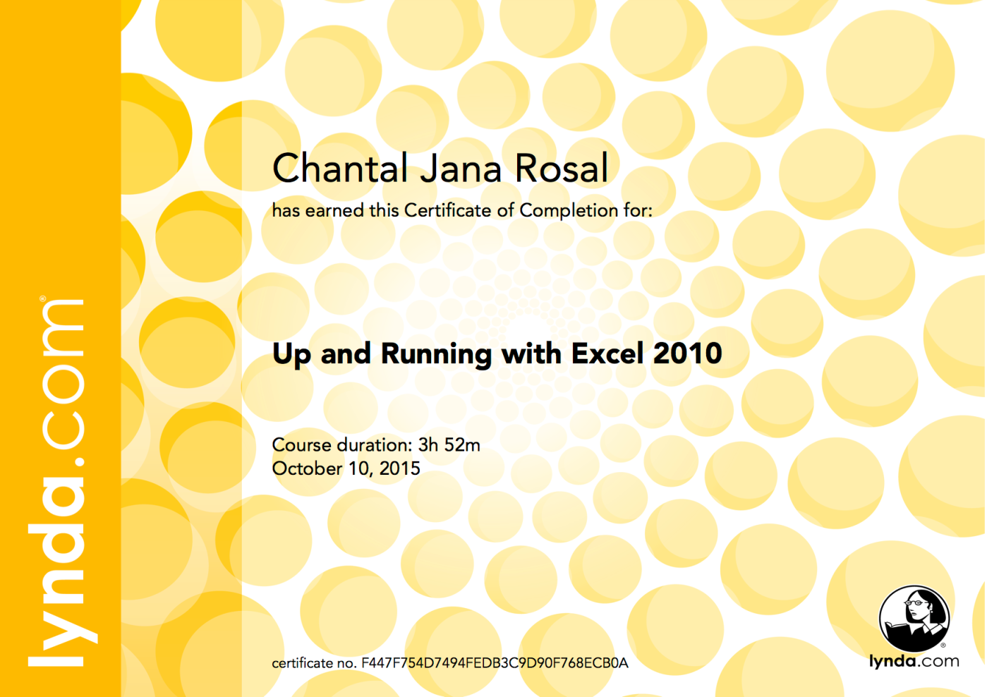 certificate learning excel 2010